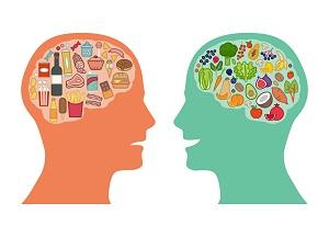 dwie postaci z obrazem jedzenia w mozgu