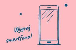 wygraj smartfona tekst na rozowym tle
