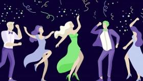 grafika tanczace postacie na granatowym tle